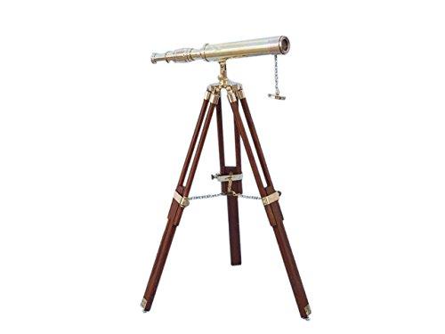 Hampton Nautical ST-0137-plain Floor Standing Brass Harbor Master Telescope 30