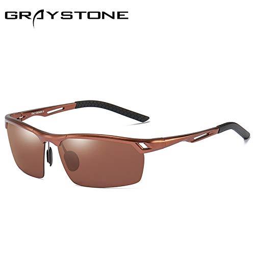 Aire conducción sunglasses al Gafas Gafas Mjia de Libre Deportivas Hombre de magnesio Aluminio Sol Gafas polarizadas Brown Negro de Gafas equitación wpTAZ