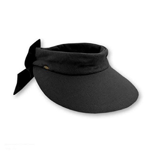 Scala Women's Deluxe Big Brim Cotton Visor with Bow, Black, One Size