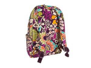Vera Bradley Laptop Backpack (Updated Version) with Solid Color Interiors (Plum Crazy with Plum Interiors)