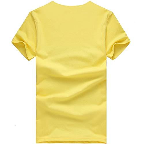 wodceeke Womens Cute Cat Printed Casual Short Sleeve Cotton O-Neck Tees Shirt(Yellow,XL) by wodceeke (Image #3)