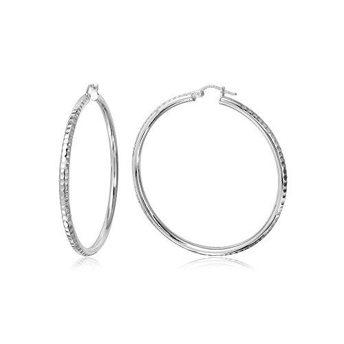 (Sterling Silver Diamond Cut Design Hoop 2mm Earrings Size 25)