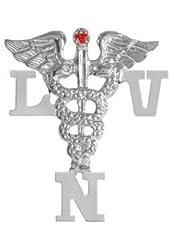 NursingPin - Licensed Vocational Nurse LVN Nursing Pin with Ruby in Silver