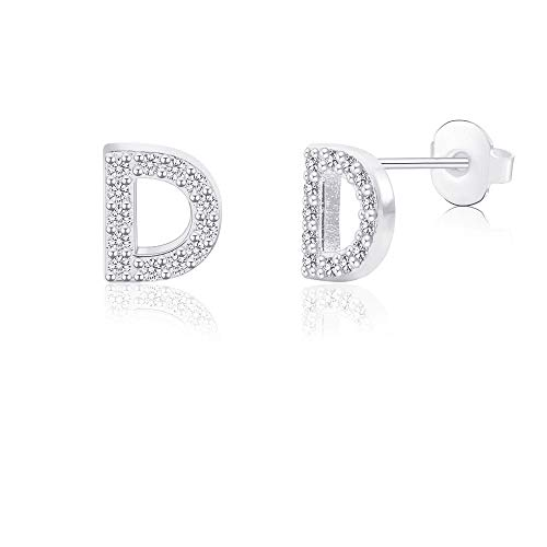 D Initial Letter Earrings for Girls Women Hypoallergenic for Sensitive Ears Nickel Free Tiny Alphabet Stud Earrings 316L Stainless Steel Personalized Monogram Jewelry Silver Bridesmaid Gift