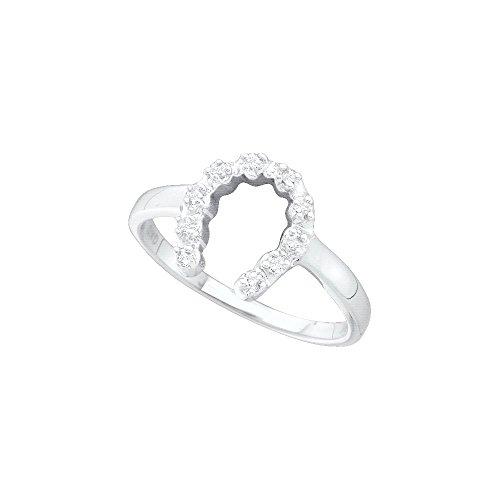 Diamond Ladies Ring Horseshoe (Dazzlingrock Collection 1/20 Total Carat Weight Diamond Ladies Horse Shoe Ring)