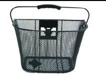 "Biria bicycle Basket with Bracket Black Front Quick Release Basket, Removable, Wire Mesh Bicycle basket ""Express Klick"", Black"