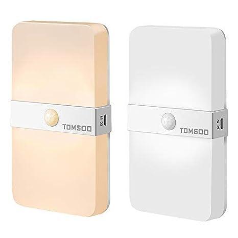 Tomsoo - Sensor de movimiento inalámbrico recargable, 3000 K, luz blanca cálida/6500