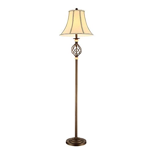 (Belief Rebirth Traditional Barley Twist Floor Lamp with a Tapered Fabric Shade and Metal Antique Brass Colour Finish )