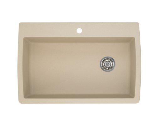 """BLANCO 441214 Diamond Super Single Silgranit Drop-in or Undermount Kitchen Sink, 32.5"""" X 22"""", Biscotti"""