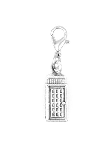 It's All About...You! 3D Phone Booth Call Box Stainless Steel Clasp Clip on Charm ()