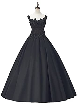 Promshow Flower Luxury Applique Beaded Diamond Satin Wedding Dress size 12 Black