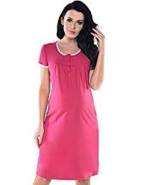Purpless Maternity Pregnancy and Nursing Button Opening Lace Finish Nightdress 6066n