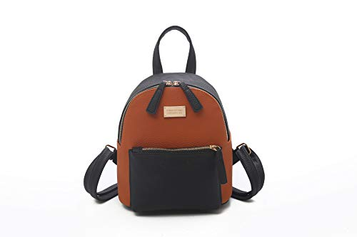 TF Women's Mini PU Leather Backpack Purse Casual Drawstring Daypack Convertible Shoulder Bag (BROWN&BLACK)