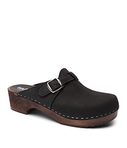 Sandgrens Swedish Wooden Clogs for Men with Leather Upper | Halmstad Black DK, EU - Leather 706