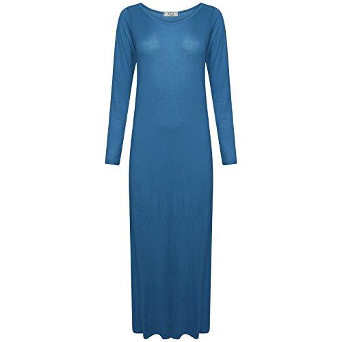 Nouvelles Femmes Dames En Jersey Viscose Maxi Robe Moulante Flare Manches Longues De Base Plus Simple Taille 8-22 Turquoise