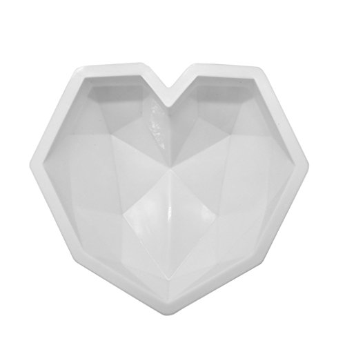 Diamond Heart Silicone Cake Baking Molds For Chocolate Dessert Mousse Pastry Art Pan Bakeware Decorating Tools White
