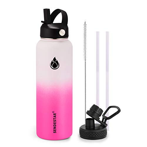 SENDESTAR Water Bottle 40oz Double Wall Vacuum Insulated Leak Proof Stainless Steel Sports Water Bottle—Wide Mouth with New Flex Straw Lid & Spout Lid (White&Pink)