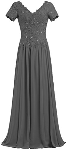 ANTS Women's V Neck Short Sleeve Mother of The Bride Dresses Long Gowns Size 26W US Grey