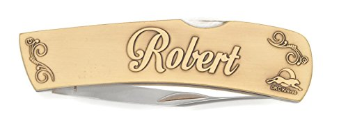 Antique Custom Brass Blade (DKC-1000-B ROBERT Personalized Name Knife Custom Hand Engraved Minted In Antique Brass 4.5 oz 6.75