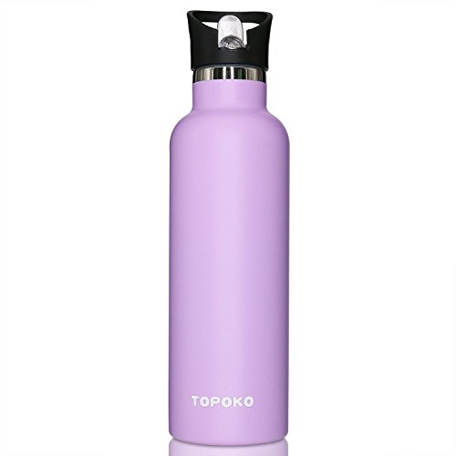 TOPOKO 25 Ounce Straw Double Wall Stainless Steel Water Bottle Vacuum Insulation Bottle Leak Proof Bottle,BPA free With Flip Spout Lid-Purple