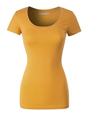 (Design by Olivia Women's Basic Solid Casual Deep Scoop Neck Short Sleeve T-Shirt, Ibtw016 Yolk Yellow, Medium)