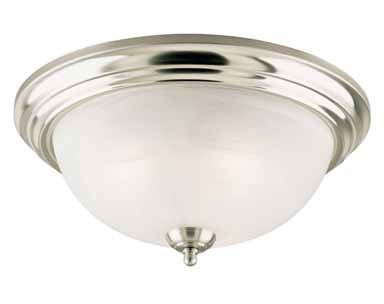 Westinghouse Flush Mount Ceiling Fixture A19 6-3/4 In. Glass,Nickel,White Bx