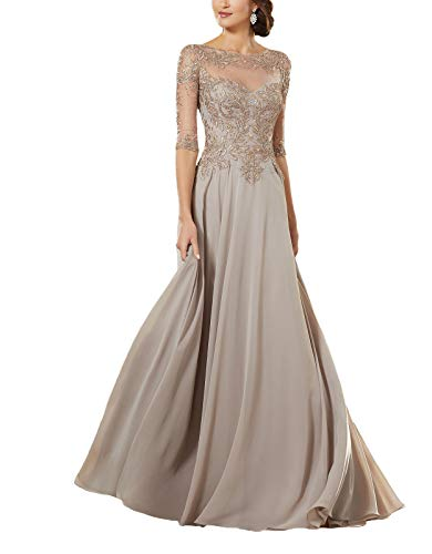 Women's Lace Applique Beaded Mother of The Bride Dress Half Sleeve Chiffon Evening Formal Party Dress 16w Champagne