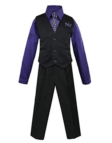 Purple Pinstripe Suit - Luca Gabriel Toddler Boys' 4 Piece Pinstripe Vest Shirt Tie Pant and Hanky Set Purple - 10