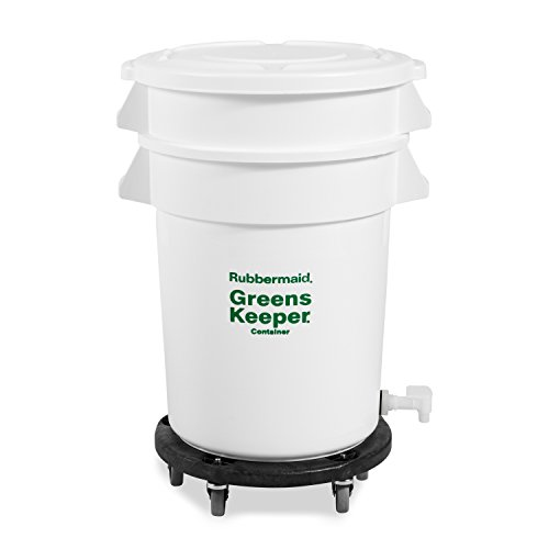 Rubbermaid Commercial FG262400WHT Brute 20-Gallon GreensKeeper Trash Can with Lid and Dolly (Gallon Brute Round Container Lid)