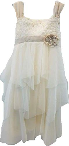 Biscotti Girls Dress Ivory Organza Crochet Top Satin