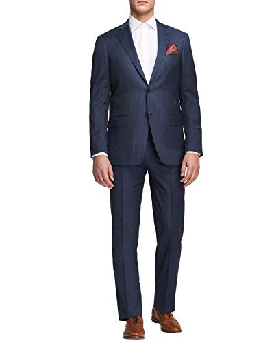 Hart Schaffner Marx Mens New York Striped Two Button Suit 50L Navy Pants 45W