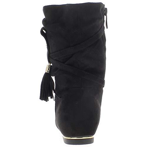Camoscio Con Stivali Tacco A Pon 1 Nere In Guardano Donne Chaussmoi Cm Lacci pon E vxfzAA