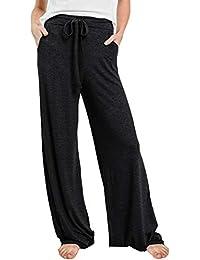 Women's Casual Pajamas Pants Drawstring Waist Stretchy Loose Long Lounge Pants Workout Pants with Pockets