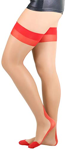 Seam Back Fishnet Lycra - ToBeInStyle Lycra Thigh High With Backseam And Cuban Heel - Nude/Red - OS