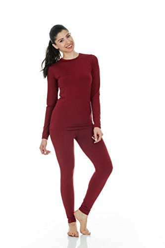 Thermajane Women's Ultra Soft Thermal Underwear Long Johns Set with Fleece Lined (XX-Small, Red)