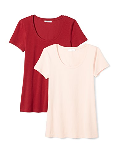 Daily Ritual Women's Stretch Supima Short-Sleeve Scoop Neck T-Shirt, 2-Pack, L, Deep Red/Blush Pink (Foundation Womens Pink T-shirt)