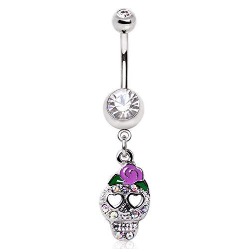 (Covet Jewelry 316L Surgical Steel Skull with Enamel Flower Navel Ring)
