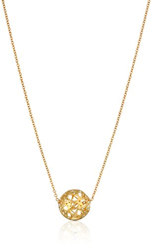 14k Yellow Gold Ball with Micro-Filigree Texture Necklace, 18