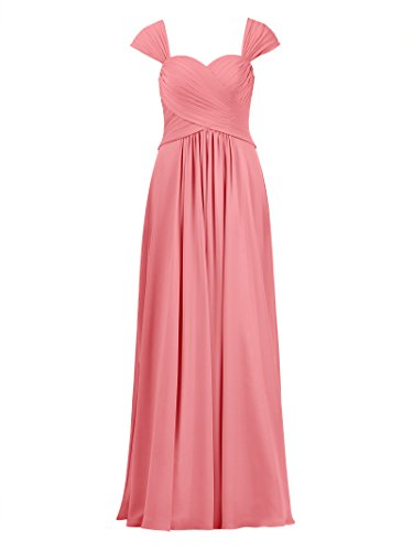 Prom Line Alicepub Coral Maxi Chiffon A Gown Dress Bridesmaid Pink Long Evening Dress Sweetheart 5C8qC