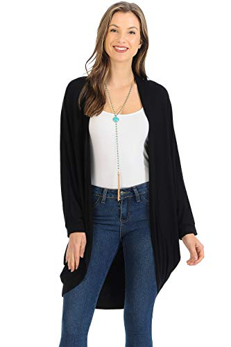 iconic luxe Women's Jersey Batwing Sleeve Cardigan Large Black (Cocoon Cardigan)