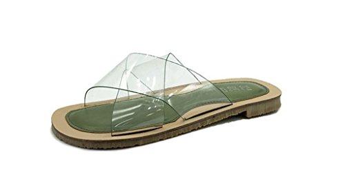 des Confortable Semelle Chaussons du Plate Sandales green été Flops Transparent prape Quotidien Flip nzvfOqqw