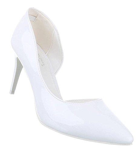 Damen-Schuhe Pumps   Frauen High Heels mit 8 cm Stiletto-Absatz in verschiedenen Farben und Größen   Schuhcity24   Klassische Abendschuhe in Lacklederoptik Weiß