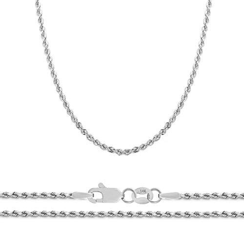 Orostar 14K White Gold 2mm Diamond Cut Rope Chain Necklace, 16