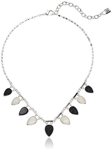 - Chaps Women's Silver Small Frontal Necklace, Jet White
