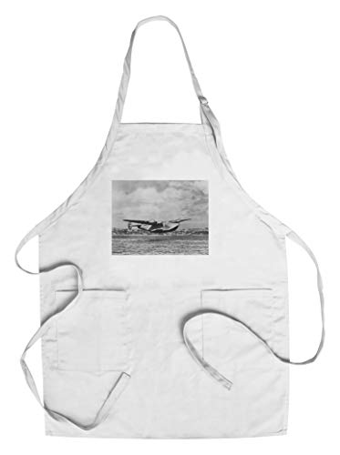 Boeing 314 China Clipper Over Water Airplane - Vintage Photograph (Cotton/Polyester Chef's Apron)