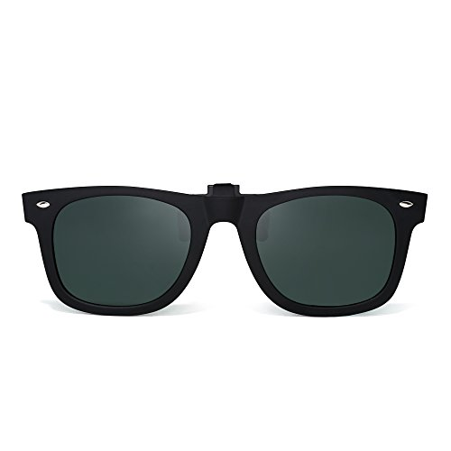 Polarized Clip on Sunglasses Flip up Mirrored Eyeglasses Men Women (Matte Black/Polarized Green)