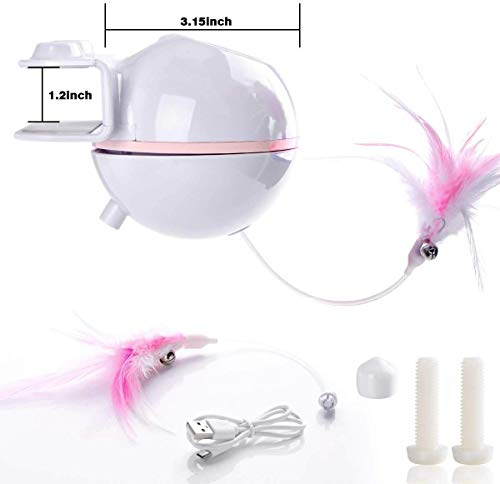 ELEBOOT Interactive Cat Toys, Automatic Rotated Spinning Light with Feather 2 in 1 USB Rechargable Electronic Kitten Toy and Chasing Hunting for Cat Tree,Cat House 7
