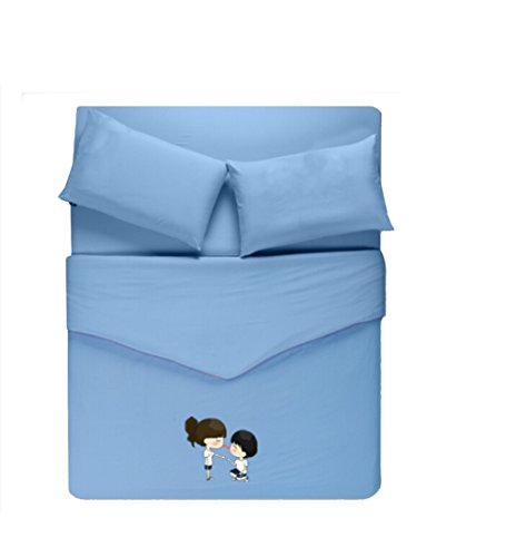 Homesicker Sky Blue Lover Pattern Pure Cotton Bedding Set,X-Long Twin price