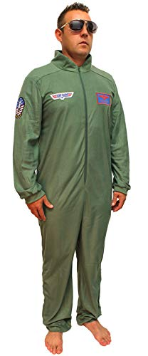 Top Gun Costume Adult Maverick Flight Suit Mens Union Suit (XX-Large) Army Green