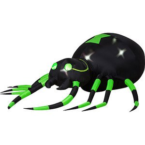 Halloween Decorations 6' Long Airblown Halloween Inflatable Animated Green Spider with Turning Head
